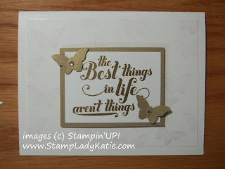 Elegant Wedding Card, tone on tone with butterfly embellishments.