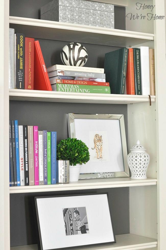 Painted Media Cabinet Bookshelf Styling Daun Segar Sari