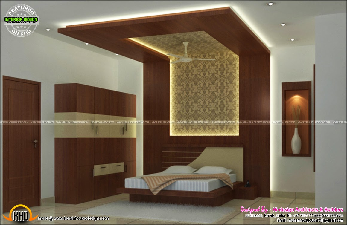 Interior bed room living room dining kitchen kerala for Interior designs houses pictures