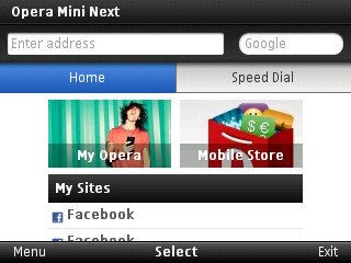 Speed Dial Opera Mini Next 7 dan halaman depan