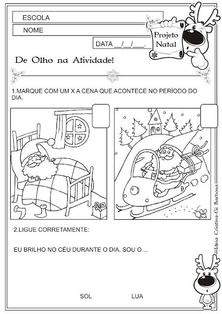 Atividade Educação Infantil Natal Conceitos