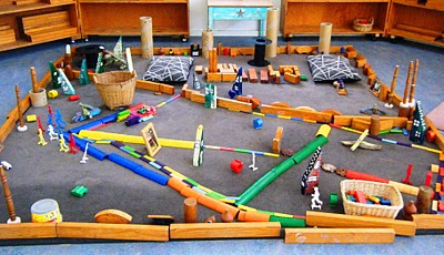 Let The Children Play Props In The Block Area At Preschool