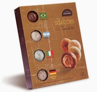 trufas de chocolate Cacau Show com sabor das seleções campeãs da Copa do Mundo