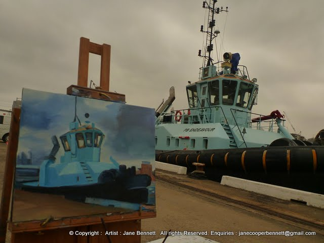 Marine painting- plein air oil painting of tug in Sydney Harbour by marine artist Jane Bennett