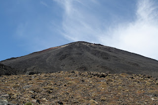 A closer view of the red mountain.