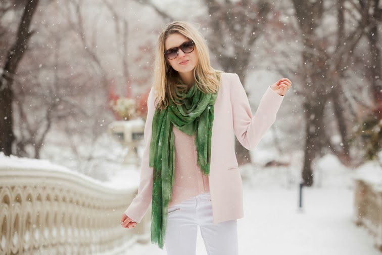Pastels pink Zara lapel-less blazer J Brand white denim Bindya green scarf Solo Eyewear pink Saucony sneakers Jason Wu for Target blouse