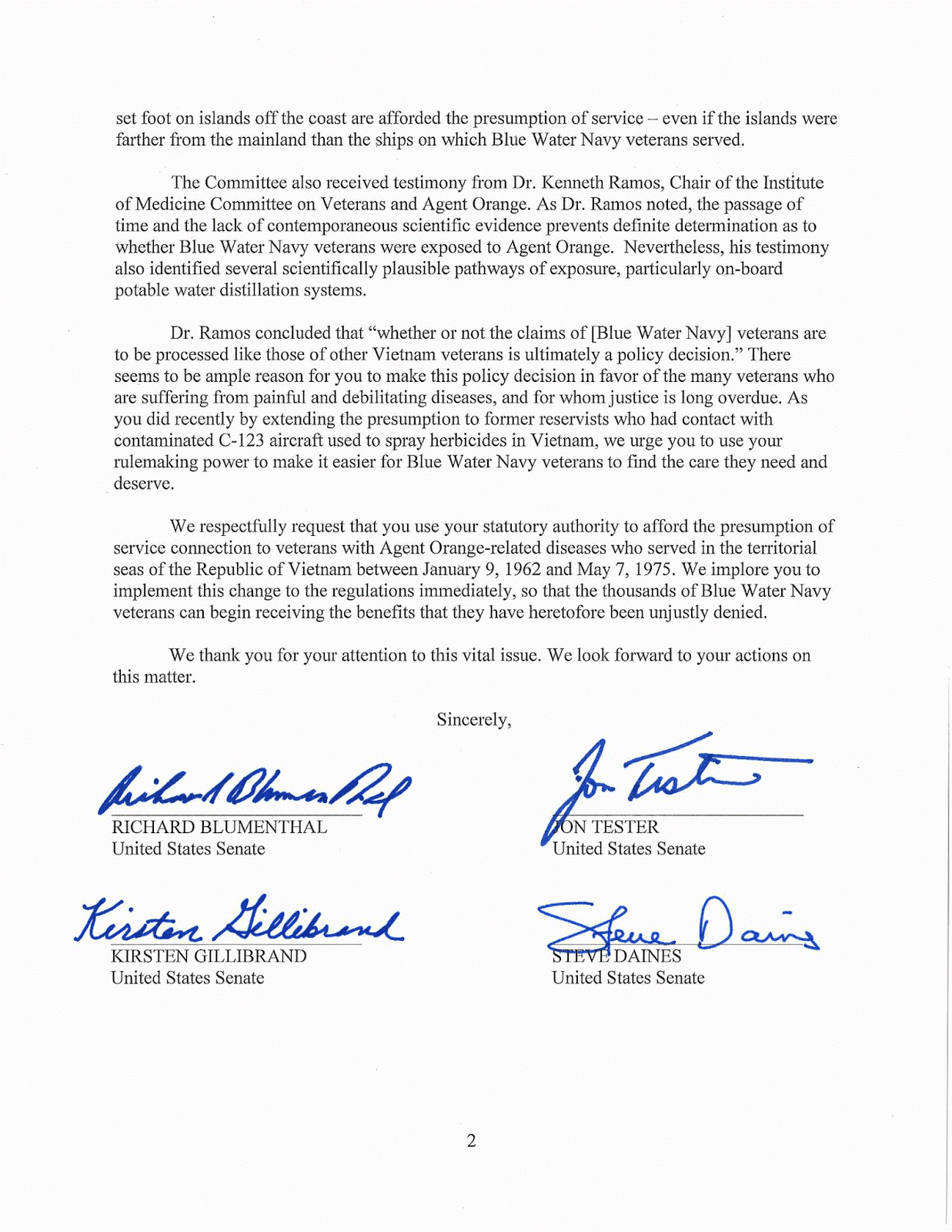 senators letter to secretary mcdonald
