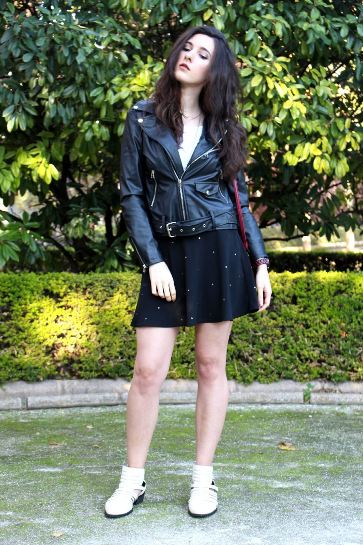OOTD: leather + lace