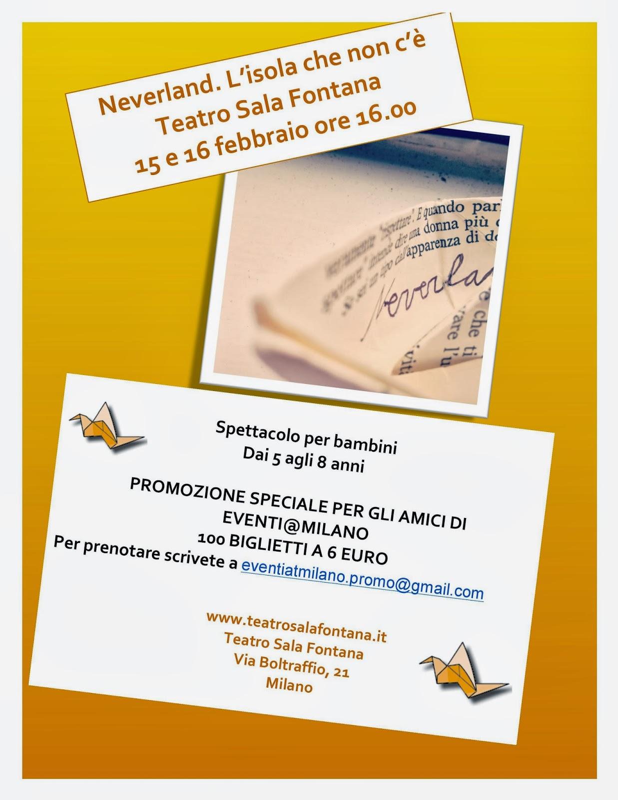 Sabato 15 e domenica 16 febbraio Teatro Sala Fontana di Milano biglietti in sconto per i lettori di e@m