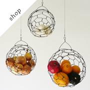 Hanging Wire Fruit Sphere Basket | CharestStudios