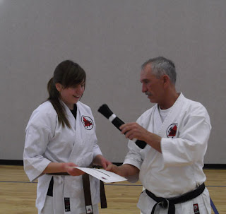 Receiving Shotokan Karate Black Belt at Cedar Ridge Academy