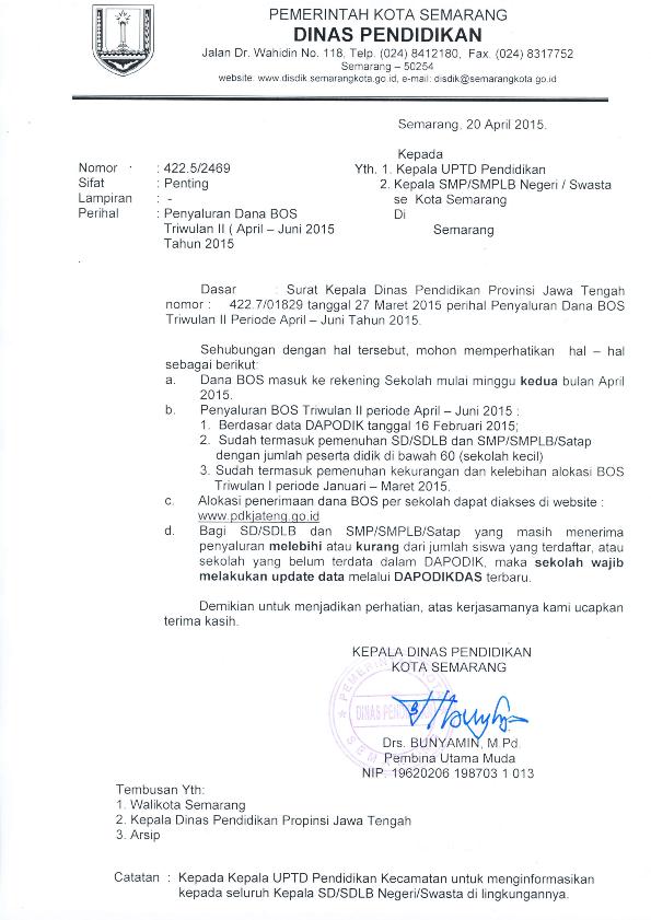 Penyaluran Dana Bos Triwulan Ii April Juni 2015 Smk
