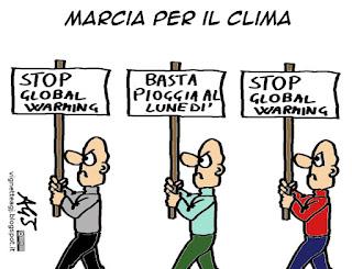 marcia per il clima, riscaldamento globale, global warming, climate change, lunedì, vignetta umorismo