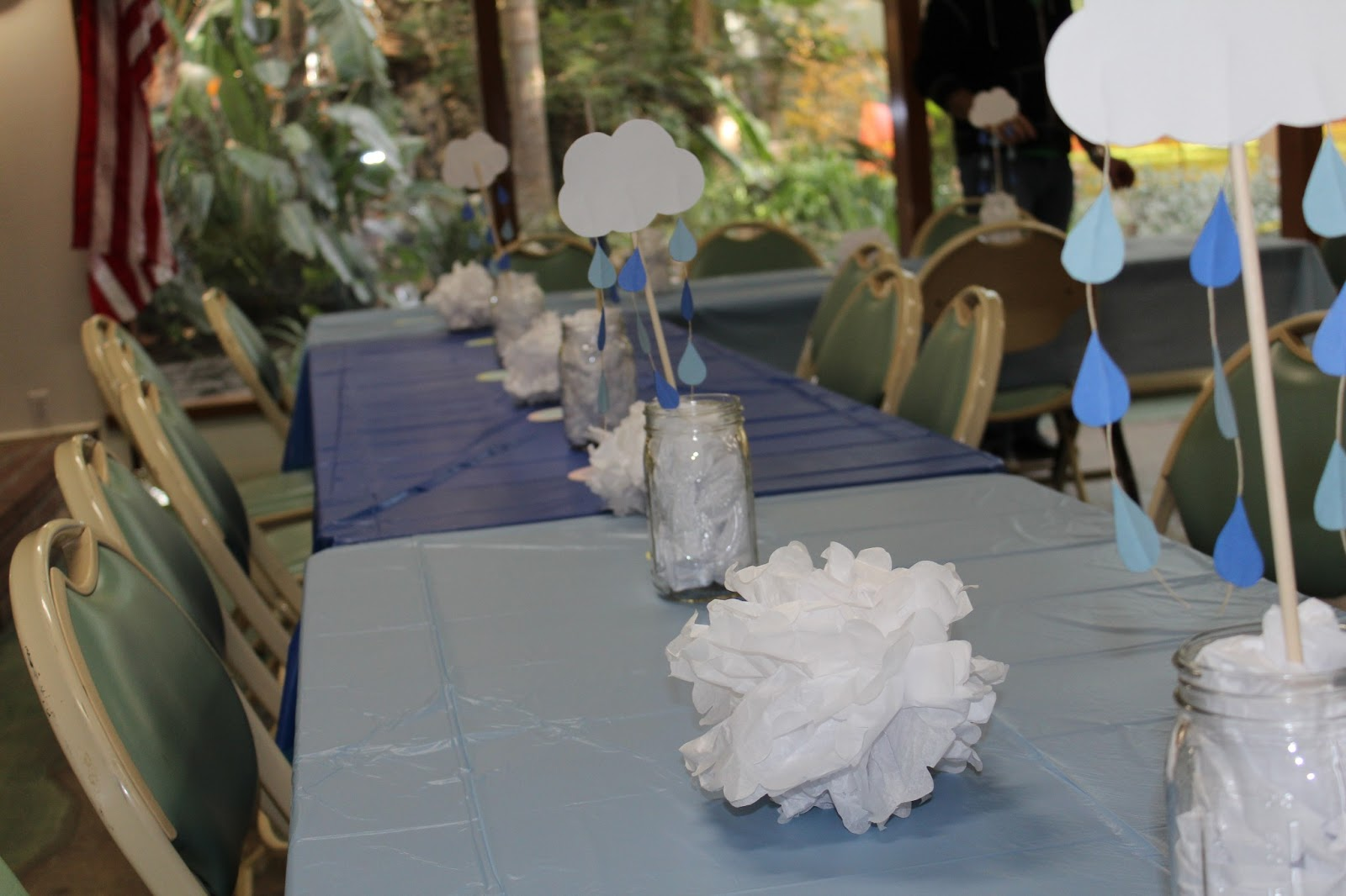 Project baby mom a cloud themed baby shower for Cloud centerpieces