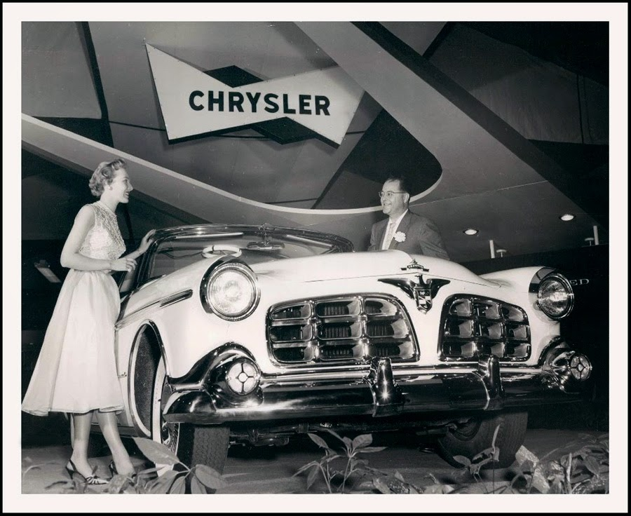 1955 Imperial car model shown on display at January 1955 Chicago Auto Show