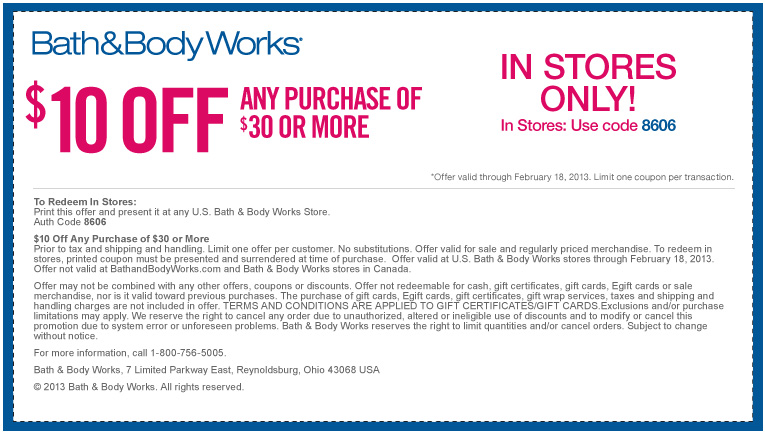Today's top Bath and Body Works Coupons: Extra $10 Off Purchases of $30 Or More. See 40 Bath and Body Works Coupons and Coupon for December