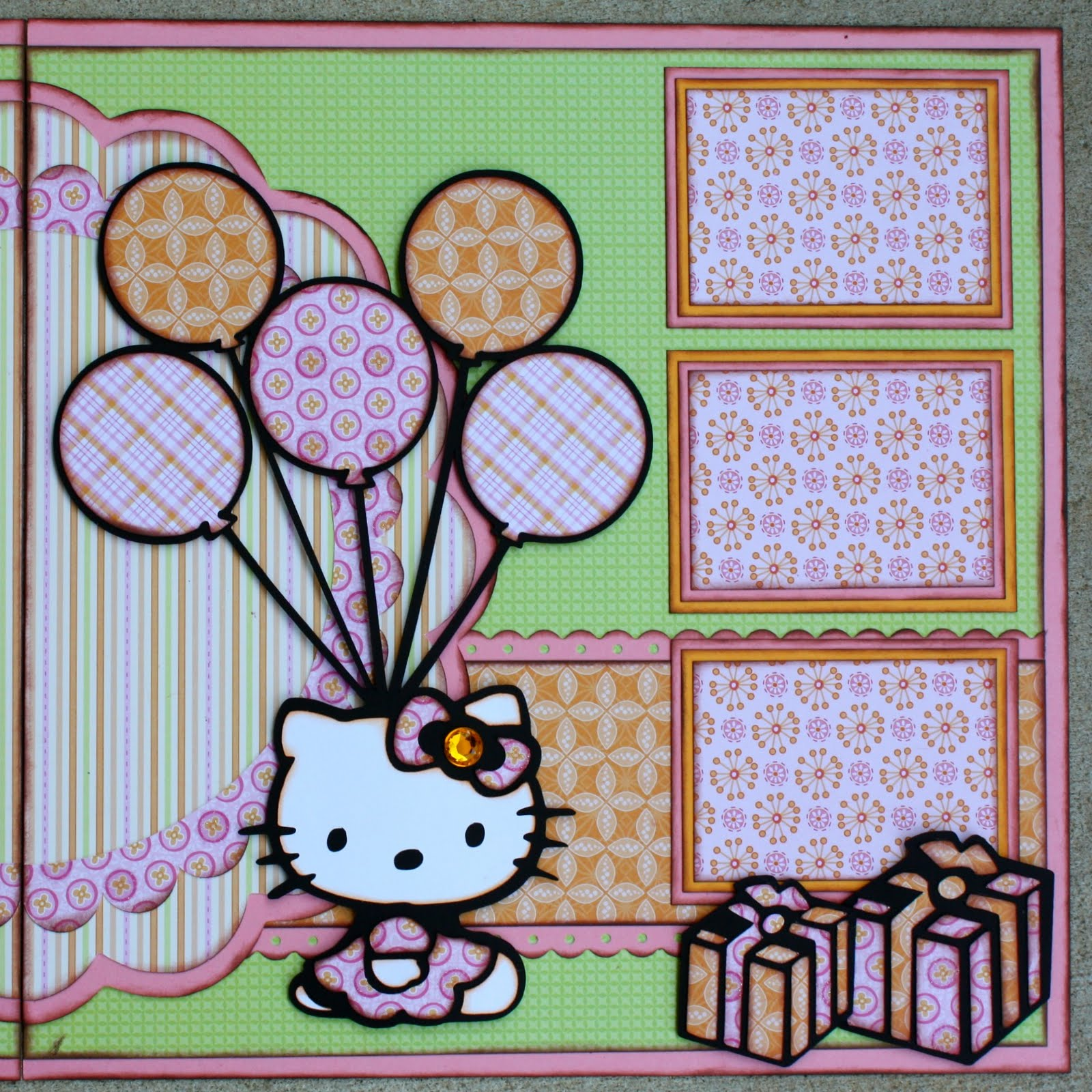 Hello kitty scrapbook ideas - All Of The Cuts Were Inked And Popped Up On Foam For Added Dimension