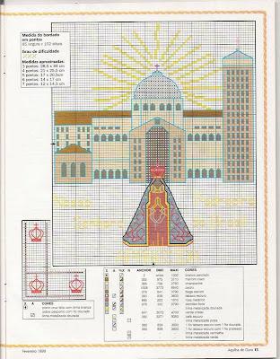 gráfico ponto e cruz de Nossa Senhora Aparecida