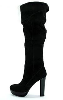 cizme  dama ieftine peste genunchi din piele intoarsa
