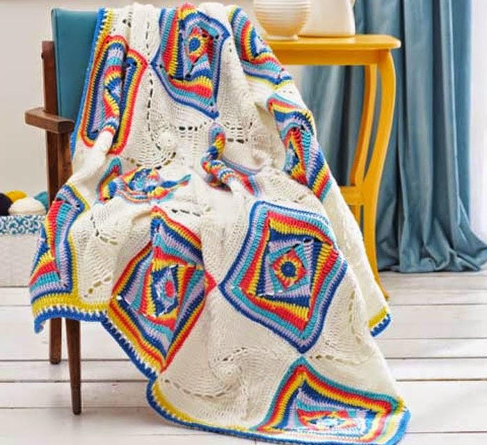 Maravillosa manta con cuadros artísticos - con diagrama y patrón