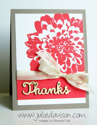 Stampin' Up! Definitely Dahlia + Expressions Natural Elements card #stampinup www.juliedavison.com