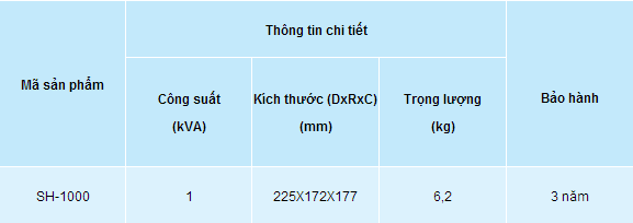 Kích thước ổn áp lioa SH 1000VA