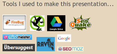firebug, screaming frog, google drive, SEO quake, Raven tools