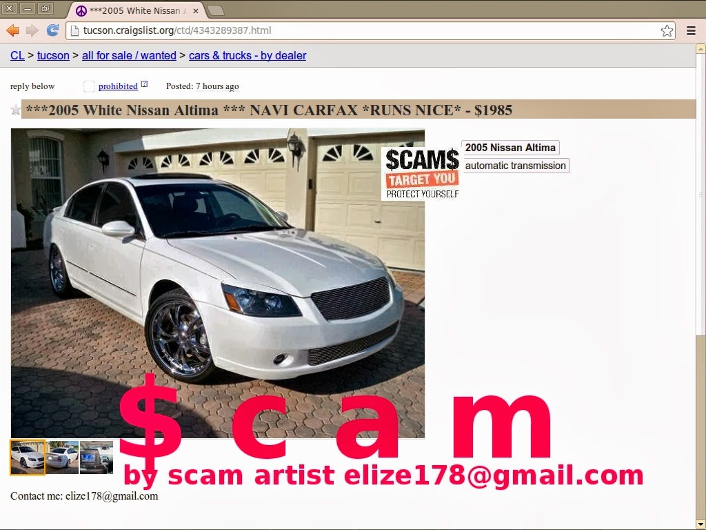 Craigslist Scam Ads Detected On 02 21 2014 Updated Vehicle Scams