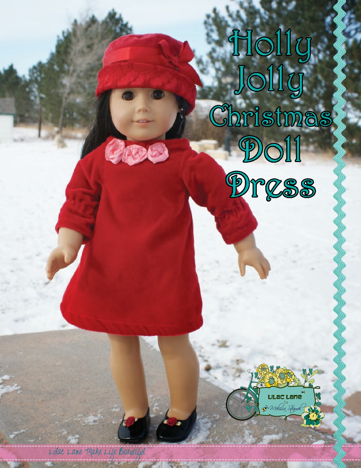 Free christmas doll dress pattern from lilac lane by melissa stramel