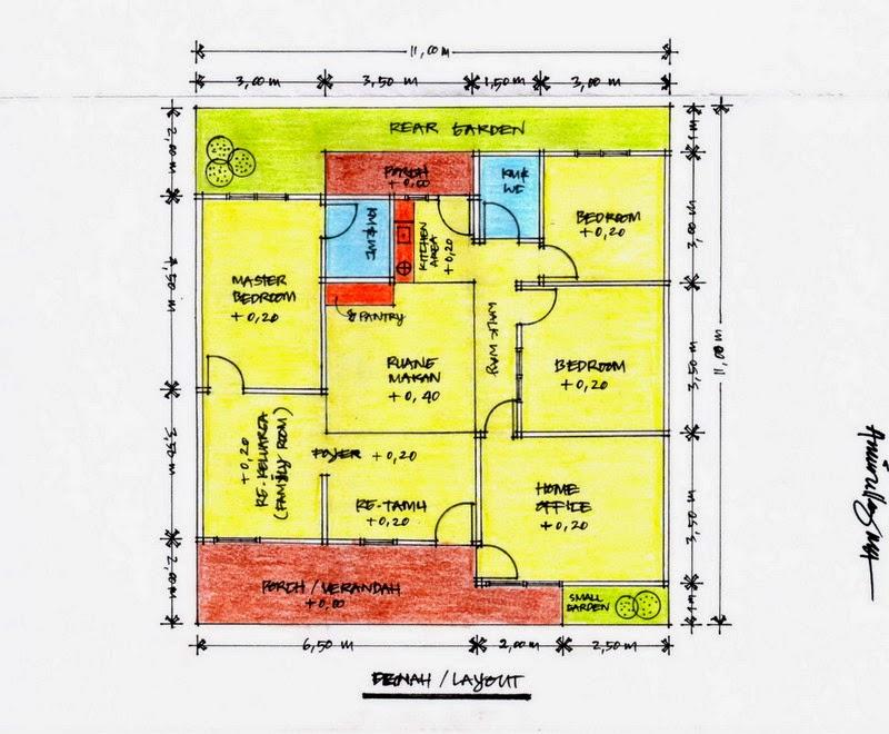 Denah Rumah Sederhana Ukuran 11 x 11 dengan 3 Kamar Tidur