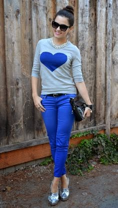 Light Grey Long Sleeve Shirt With Cobalt Blue Pent And Silver Shoes