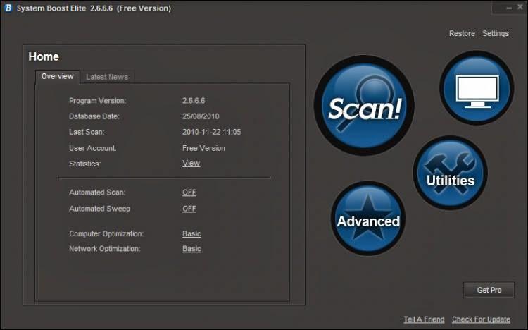 صورة من برنامج تصليح مشاكل الويندوزSystem Boost Elite