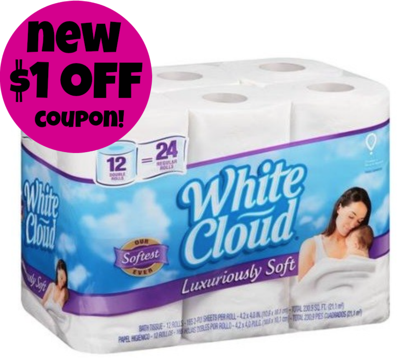 White Cloud New 1 off Bathroom Tissue Coupon Walmart Scenario. Bathroom Tissue Coupons