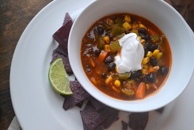 Vegan black bean soup with cornbread muffins