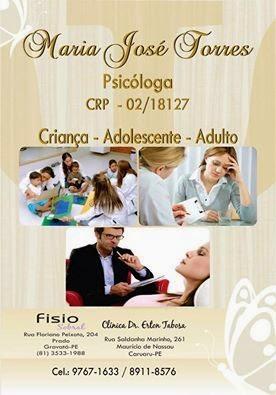 Fisio Sobral - Gravatá - PE - Maria José Torres - Psicóloga CRP - 02/18127 - Fone: 3533-1988