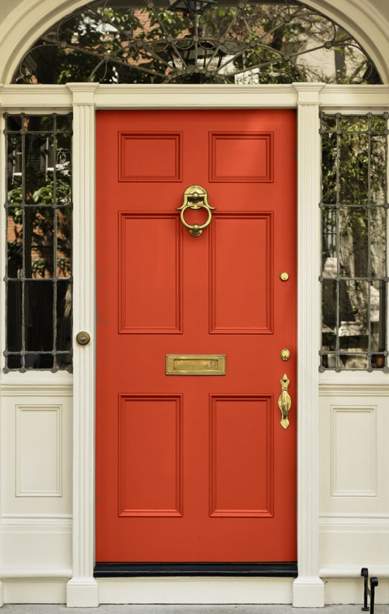 Chinoiserie chic the chinoiserie front door coral Front door color ideas for beige house