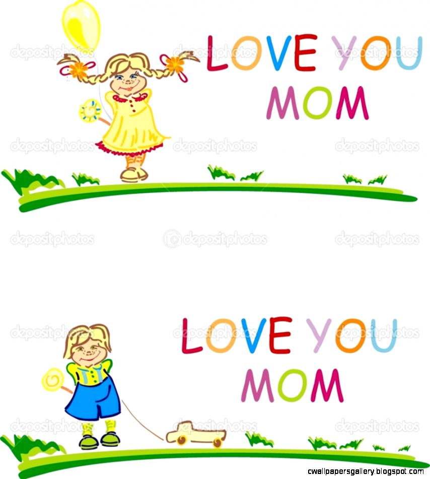 Stylized happy girl and boy with words Love you mom — Stock Photo