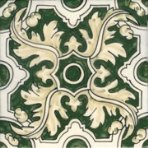 Portuguese Braganza Green Hand-Painted Ceramic Tile