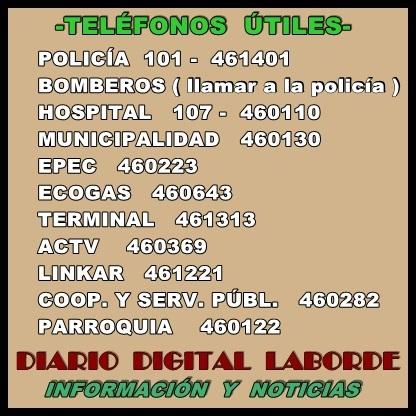 TELÉFONOS ÚTILES-LABORDE