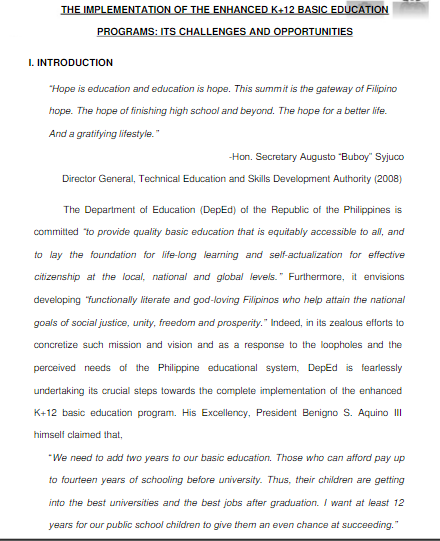 position paper about k 12 education in the philippines Paper, i intend (a) case of philippine k-12 education system [pkes] and consequently takes an explicit position, by.