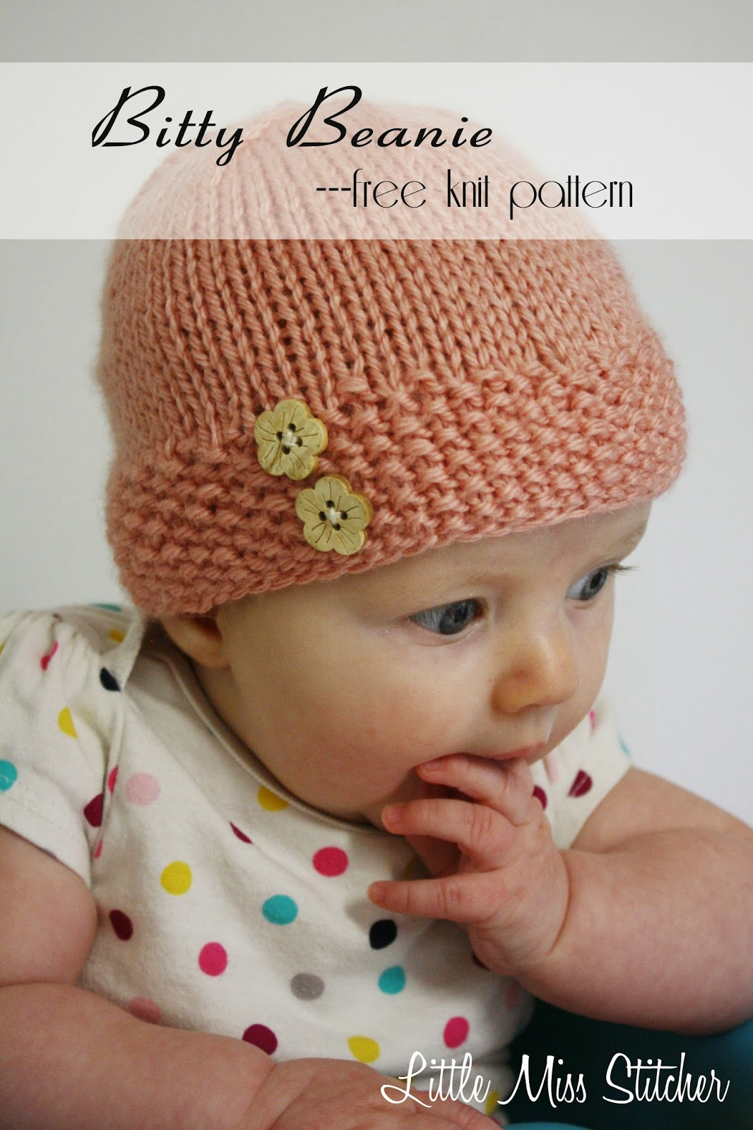 Free Baby Beanie Knitting Pattern : Little Miss Stitcher: Bitty Beanie Free Knit Pattern