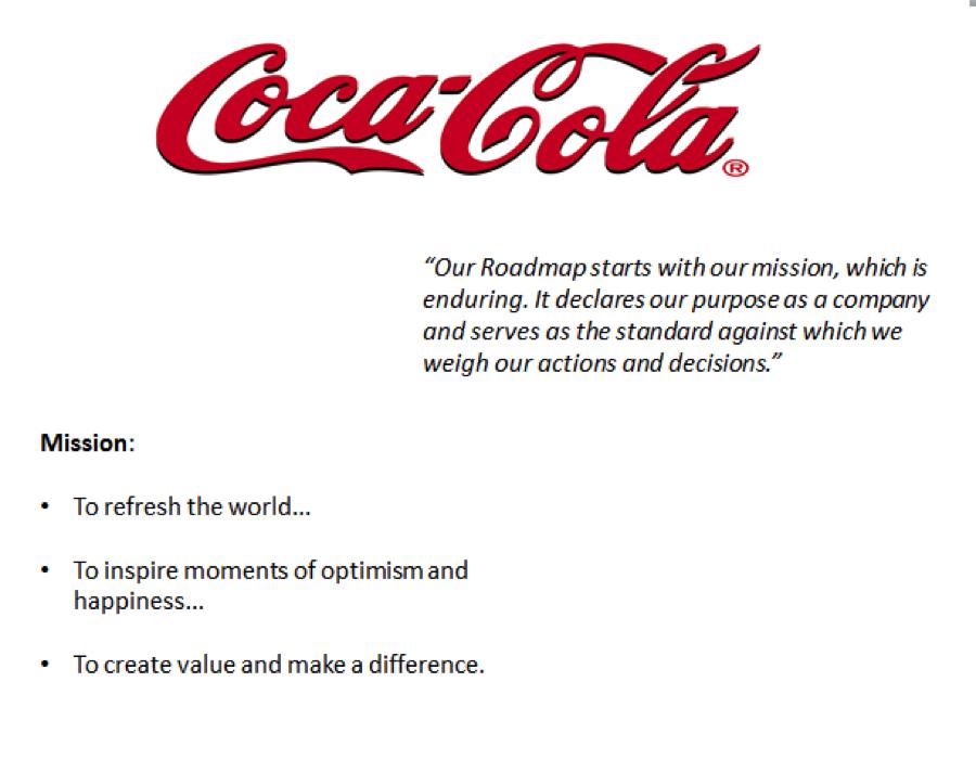 coca cola mission