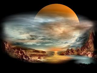 paisaje fantastico de la luna