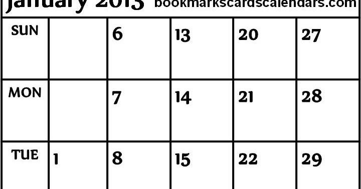 ... 2015, Bookmarks, Cards: Blank Calendar 2013 January Planner - 3