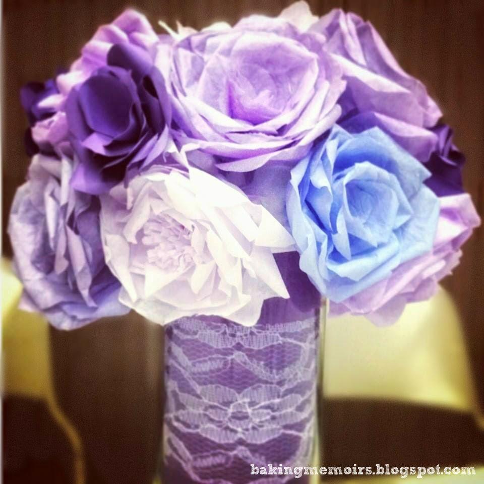 Baking Memoirs Paper Flower Series Coffee Filter Roses Tutorial