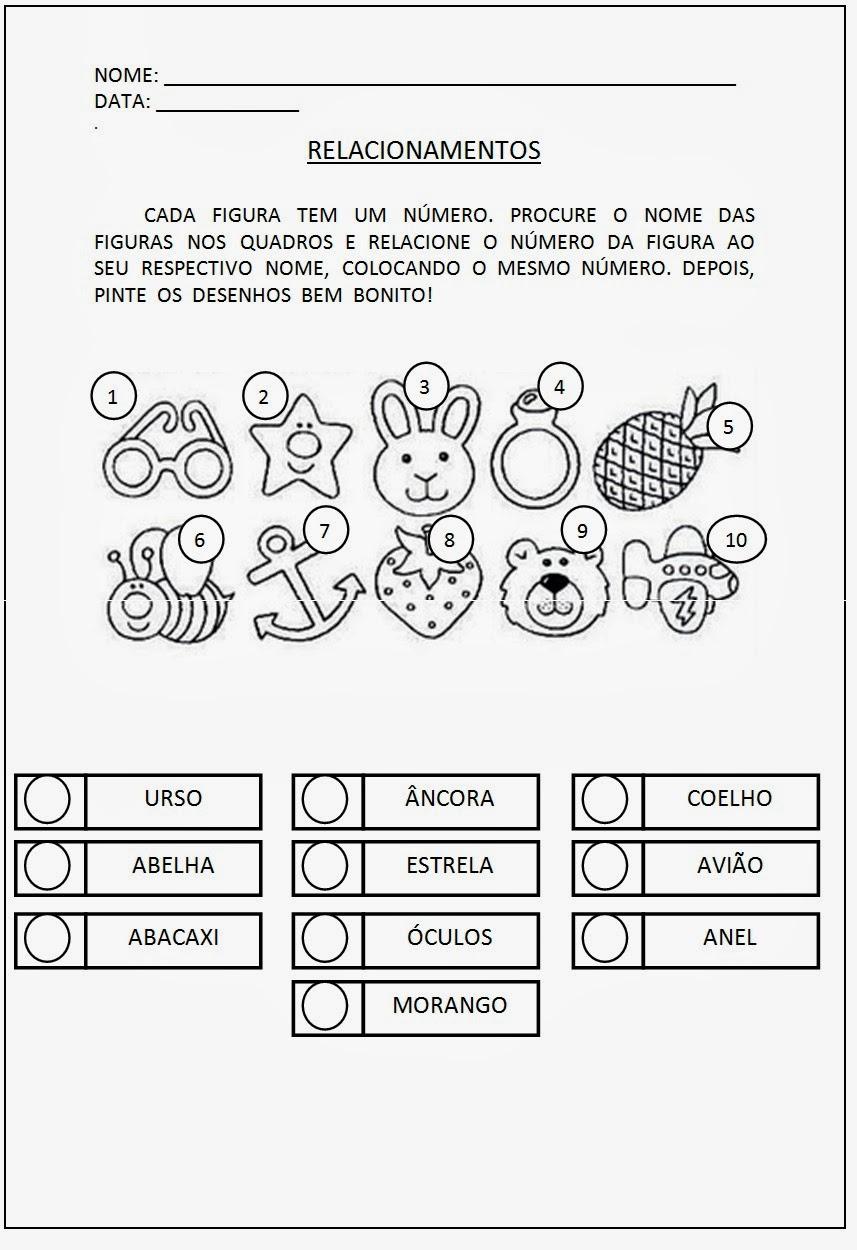 Tarefas para Alfabetização - Relacione as figuras ao seu nome