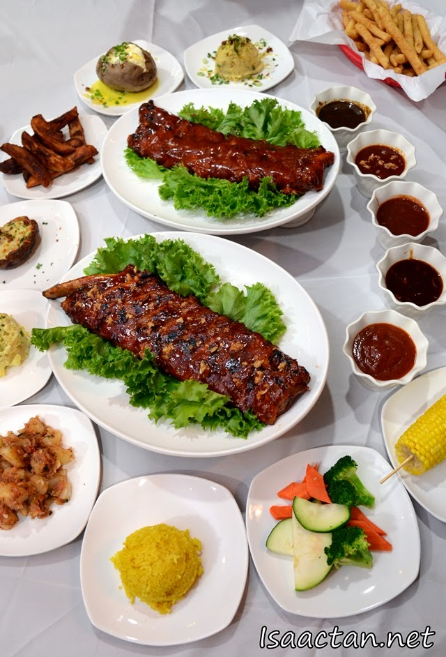 Enjoy two full slabs of pork ribs with a choice of two sides!