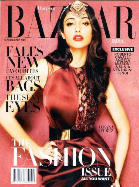 Illeana D'Cruz on the cover page of Harper's Bazaar India