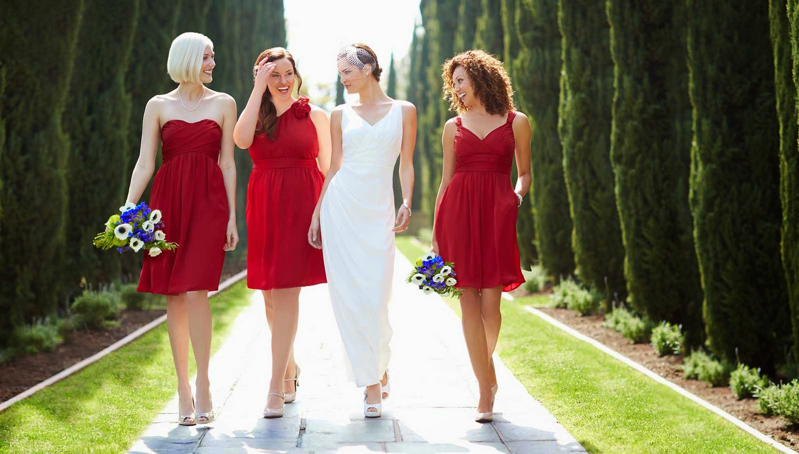 Simple Red & White Wedding Dresses Bridesmaids Photo HD