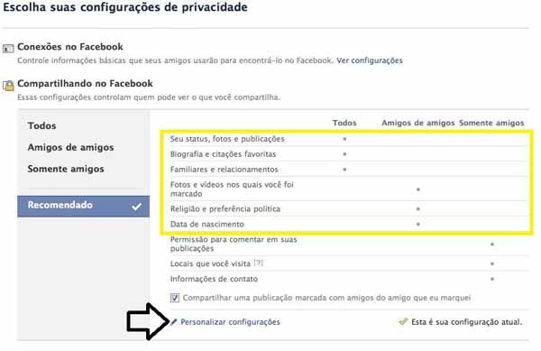 Facebook - Tela de personalizacao de privacidade